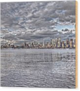 Seattle Cityscape In Clouds Wood Print