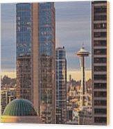 Seattle Space Needle Golden Sunset Light Wood Print