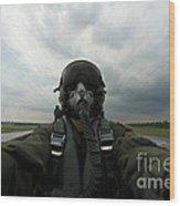 Self-portrait Of An Aerial Combat Wood Print