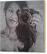 Selfie Pencil Sketch Wood Print