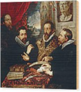 Selfportrait With Brother Philipp Justus Lipsius And Another Scholar Wood Print