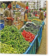Selling Fresh Vegetables In Antalya Market-turkey Wood Print