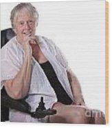 Senior Woman In Wheel Chair Wood Print