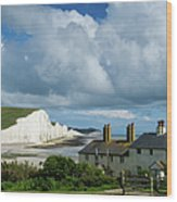 Seven Sisters Cliffs And Coastguard Cottages Wood Print