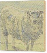 Sheep Sketch Wood Print