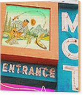 Shell Crest Motel Color Wood Print by Gail Lawnicki