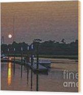 Sunset Life On Shem Creek  Wood Print