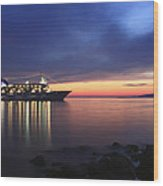 Ship At Mykonos Bay Mykonos Cyclades Greece  Wood Print
