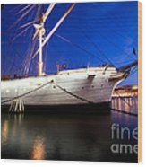 Ship At Night In Stockholm Wood Print