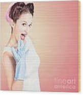 Shocked Pin-up Cleaner Girl With Funny Expression Wood Print
