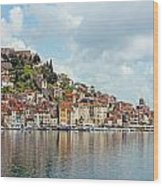 Sibenik Town On Adriatic Sea  Wood Print