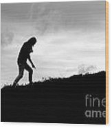 Silhouette Of Girl Pointing Wood Print