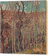 Silvery Tangle Wood Print