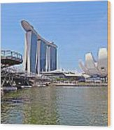 Singapore Artscience Museum Double Helix Bridge And Marina Bay  Wood Print