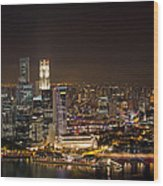 Singapore City Skyline At Night Wood Print