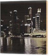 Singapore Skyline As Seen From The Pedestrian Bridge Wood Print
