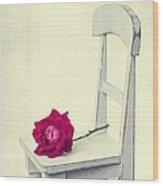 Single Red Rose Wood Print