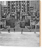 Skating At Rockefeller Plaza Wood Print