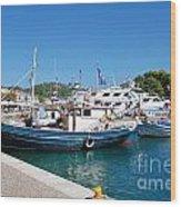 Skiathos Town Harbour Wood Print