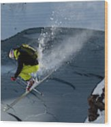 Skier Jumping On A Sunny Day Wood Print