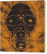 Skull In Orange Wood Print