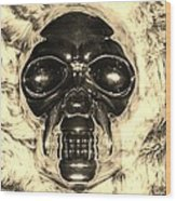 Skull In Sepia Wood Print