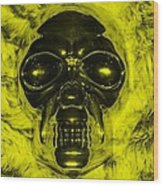 Skull In Yellow Wood Print