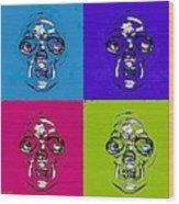 Skulls In Quad Colors Wood Print