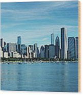 Skylines At The Waterfront, Lake Wood Print