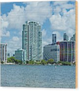 Skylines At The Waterfront, Miami Wood Print
