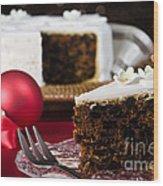 Slice Of Christmas Cake Wood Print
