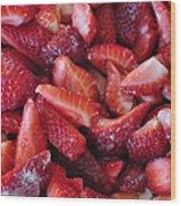 Sliced Strawberries Wood Print