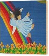 Sliding Down Rainbow Wood Print