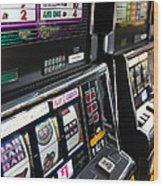 Slot Machines At An Airport, Mccarran Wood Print