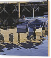 Small Boats And Dock In Port Clyde Maine Wood Print