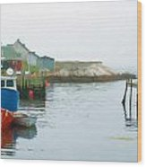 Boats In Peggy's Cove Wood Print