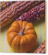 Small Pumpkin And Indian Corn Wood Print