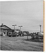 small roadside esso service gas station leader Saskatchewan Canada Wood Print