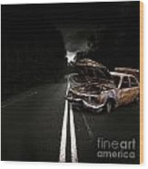 Smashed Up Car Wreck Wood Print