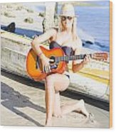 Smiling Girl Strumming Guitar At Tropical Beach Wood Print