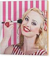 Smiling Makeup Girl Using Cosmetic Powder Brush Wood Print