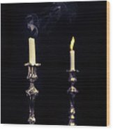 Smoking Candle Wood Print by Amanda Elwell