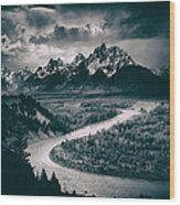 Snake River In The Tetons - 1930s Wood Print