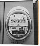 snow covered electricity meters in Saskatoon Saskatchewan Canada Wood Print