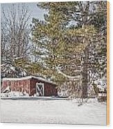 Snow In The Country Wood Print