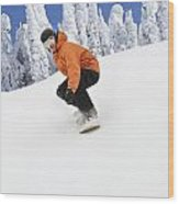 Snowboarder Going Down Snowy Hill Wood Print