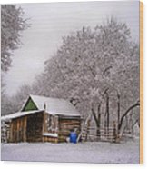 Snowy Day On The Farm Wood Print