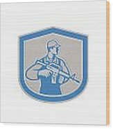 Soldier Military Serviceman Rifle Side Crest Retro Wood Print