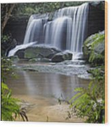 Somersby Falls Wood Print by Steve Caldwell