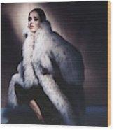 Sondra Peterson Wearing Fur Coat Wood Print